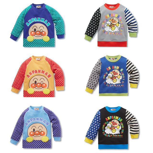Niños Camiseta de los niños Niños Niñas Algodón Anpanman Manga Larga de Cachemira Suéter Caliente Tops de la Camiseta Del Otoño Del Resorte Del Bebé Outwear