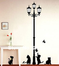 [Fundecor] creative decor wall stickers black naughty cat lamps living room cafe nursery removable wall decals 4 cats
