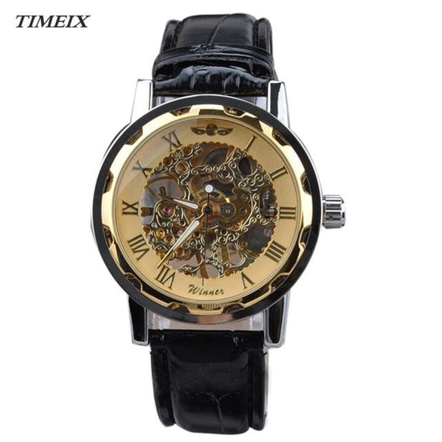 b0dac3467cd Homens Clássico Relógio mecânico Esqueleto Mostrador em Ouro de Couro  Mecânica Mens Relógios Esporte Exército Relógio