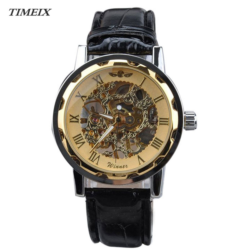 Mechanical Watch Men Classic Leather Gold Dial Skeleton Mechanical Mens Watches Sport Army Wrist Watch Hour Relogio Masculino*50 nagara средство для чистки туалета 5 шт