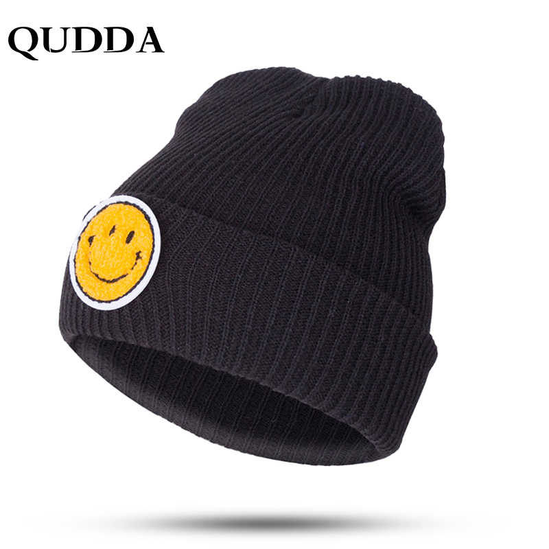 c08f934a313872 QUDDA Popular Smile Face Yellow Warm Knitted Hat For Boys&Girls Fashion  Trend Winter Lovely Emoji Hats