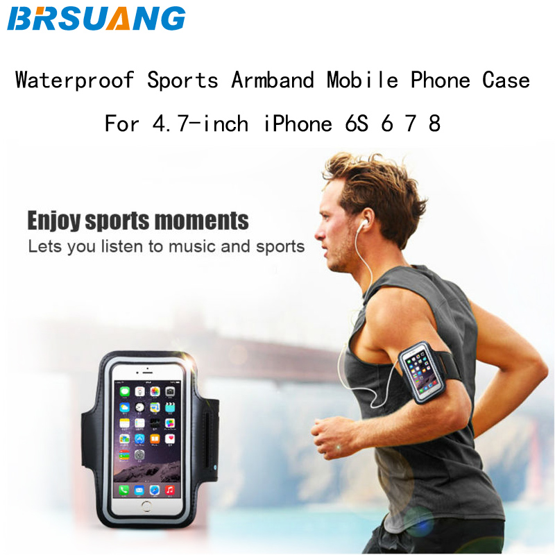Lower Price with 50pcs/lot Brsuang 4.7 Inch Waterproof Sports Armband Jogging Leather Brassard Adjustable Phone Arm Band For Iphone 6 7 8 Xiaomi High Resilience Mobile Phone Accessories Armbands