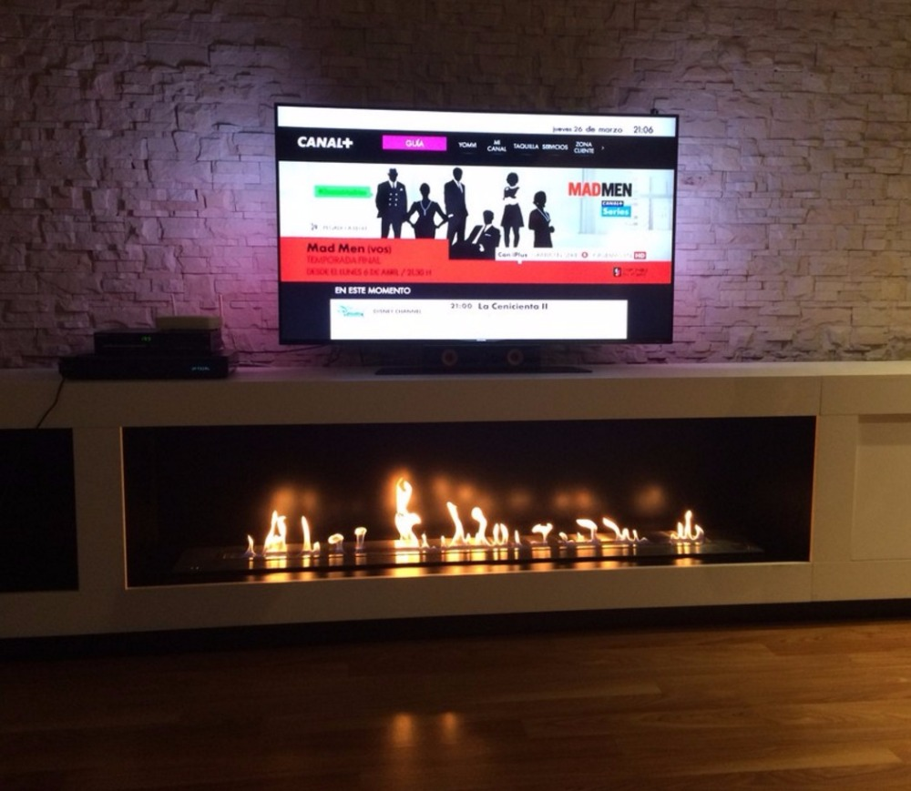 On Sale 1.5M 60 Inch Black/silver Ethanol Fireplace For Home