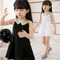 Fashion summer black white gauze slim hip party sleeveless baby short dress gold glitter paillette sequins for girls princess