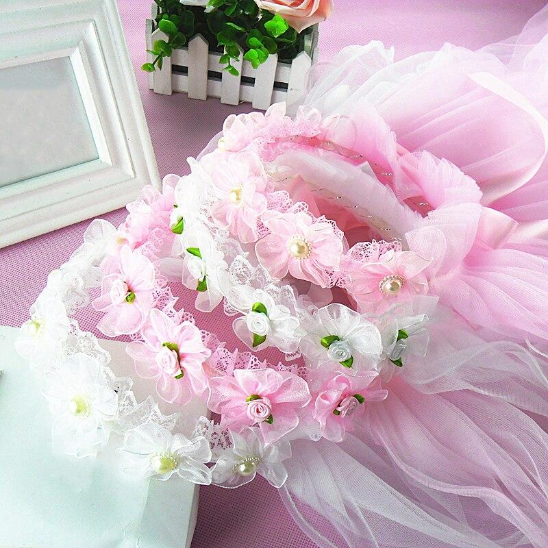 Sale Children Flower Veil Headwear White Garland  Romantic Wedding Party Flower Hairbands