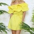 Летний Стиль Бабочка Плеча Женщины Dress Мода 2015 Рукав Slash Шеи Платья Бесплатная Доставка