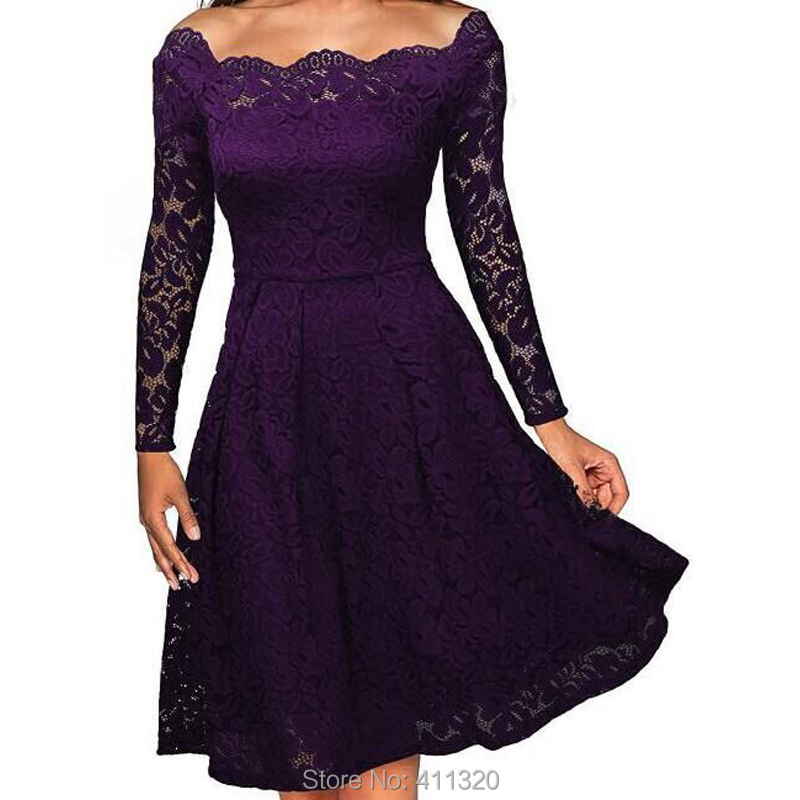 Robe Femme Sexy Vintage Floral Lace Dress Women Elegant Long Sleeve 50s 60s Retro Style Rockabilly Swing Wedding Party Dress (3)