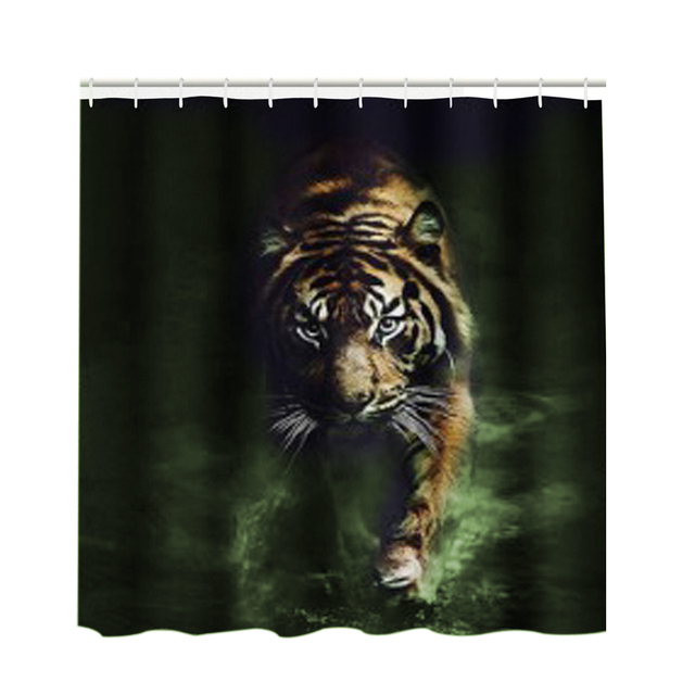 3D Tiger Pattern Shower Curtain Large Edition Printed Waterproof Polyester Bath Bathroom Product