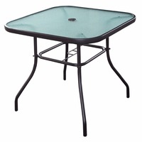 32 1 2 Patio Square Bar Dining Table Glass Deck Outdoor Furniture Garden Pool HW51791