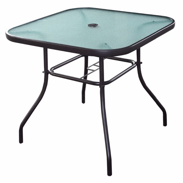 32 1 2 Patio Square Bar Dining Table Gl Deck Outdoor Furniture Garden Pool
