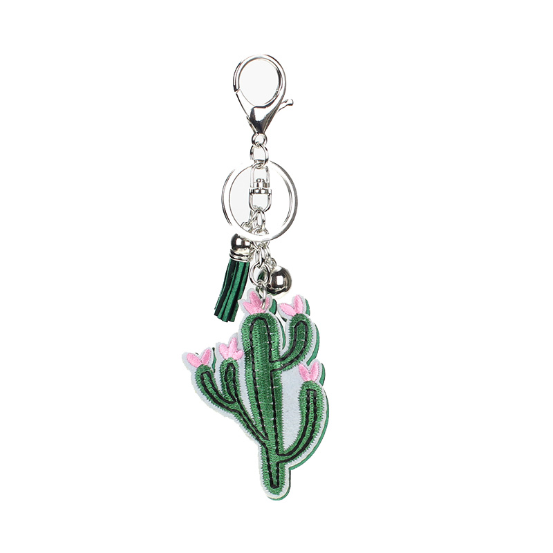 New Cute Plant Cactus Pattern Keychains for Women Bag Charm Pendant Jewelry paillette Cherry Pendant Bag Key Accessories BA01 cute cherry pendant choker necklace for women