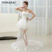 VENSANAC Elegant Lace Appliques Sweep Train Mermaid Wedding Dresses 2018 Crystal Strapless Sash Backless Bridal Gowns