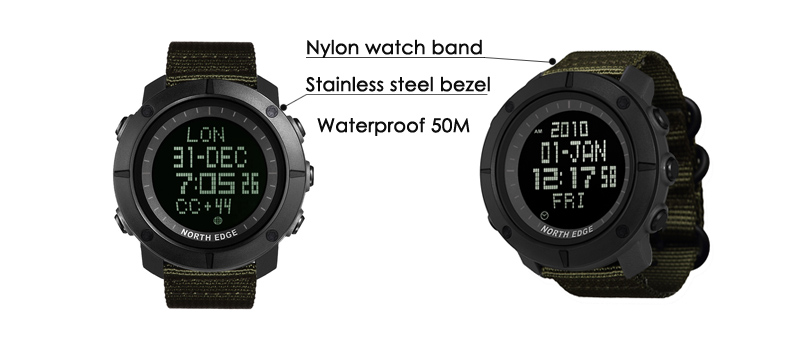 North Edge Army Men's Sports Watch - Tank