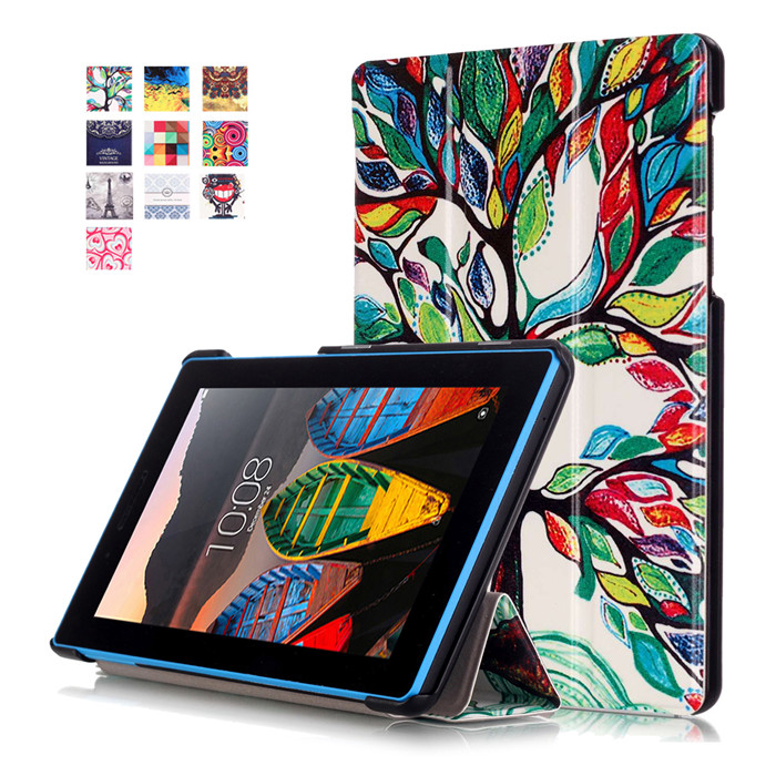 PU Leather Cover Stand Case for Lenovo TAB3 Tab 3 7 Essential 710 710F 710I TB3-710F 7.0 Tablet + 2Pcs Screen Protector