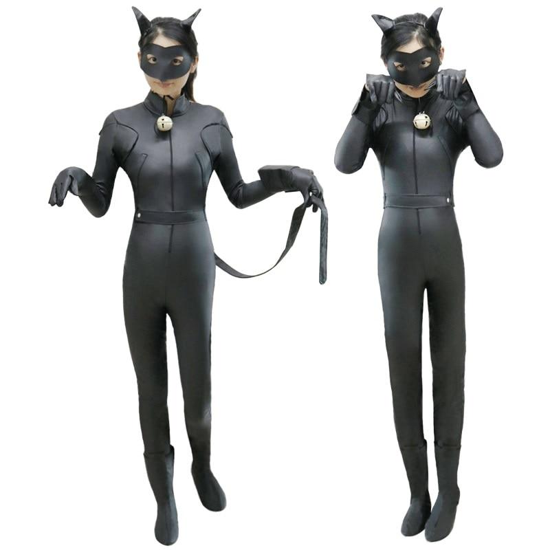 Kids Ladybug Cat Noir Cosplay Costume With Mask Ladybug Black Bodysuit Tight Jumpsuits Girls Boys Halloween Costume