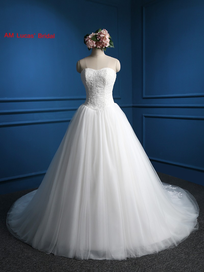 Long A Line Wedding Dresses  Strapless Tulle Lace Up Robe De Mariage Bridal Party Gowns Fairytale Princess Dress