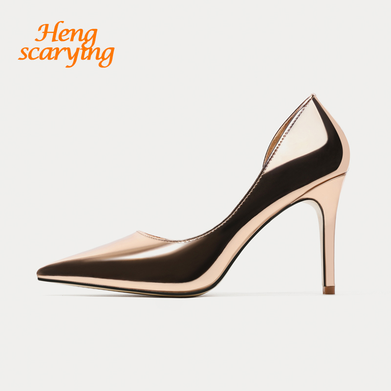 2018 Summer Women 9.5cm Thin High Heels Stiletto Glossy Gold Pumps Female Elegant Sweet Dress Cute Pointed Toe Scarpins Shoes bigtree summer shoes women elegant pumps pointed sexy ultra thin high shoes high heeled shoes hollow sweet stiletto g3168 3