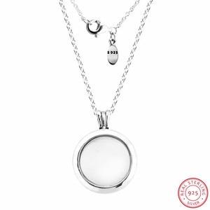 Image 3 - Colliers et pendentifs de médaillon flottant étincelant en argent Sterling 925 bijoux avec verre en cristal saphir et clair CZ FLN041