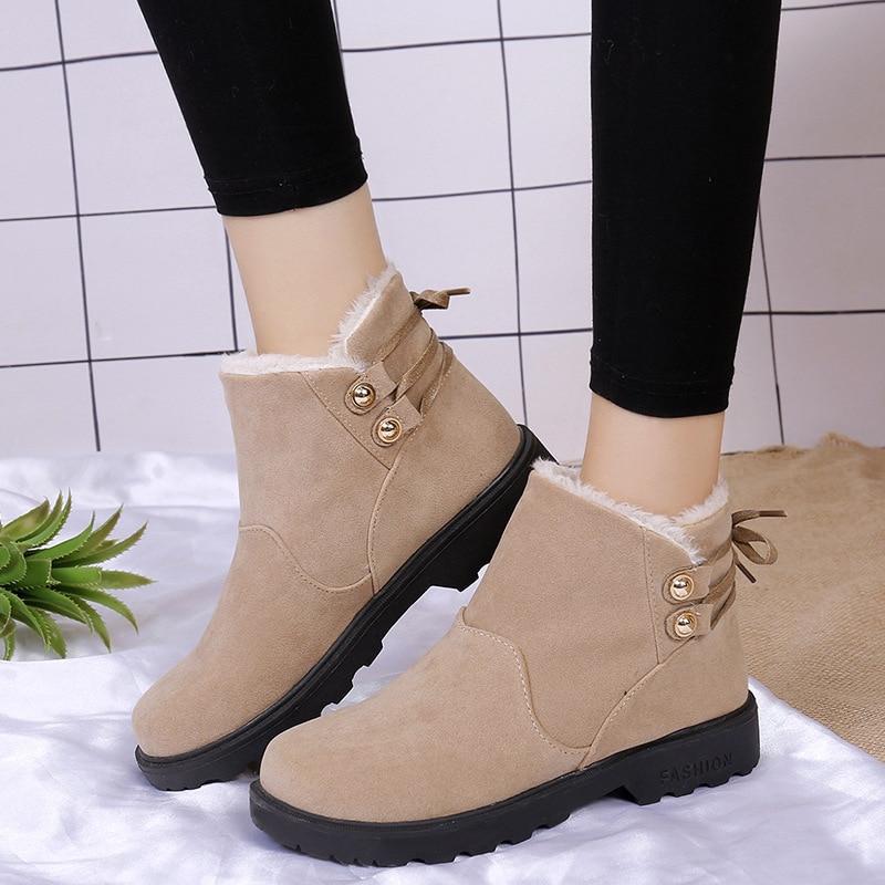 Новые короткие баррель из матовой кожи зимние теплые склон с грубой каблук зимние сапоги женские низкие ботинки женская обувь