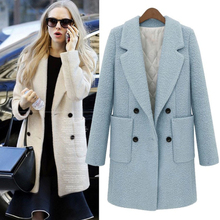 2018 new winter The European and American fashion pure color suit collar Double-breasted quilted thickening Cloth coat c442