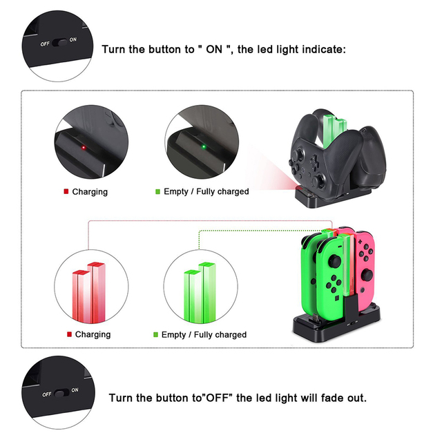 Nintend Switch NS Joy-Con & Dual Pro Controller Charger Nintendos USB Charging Dock Station with LED Indicator for Nintendo NX 3