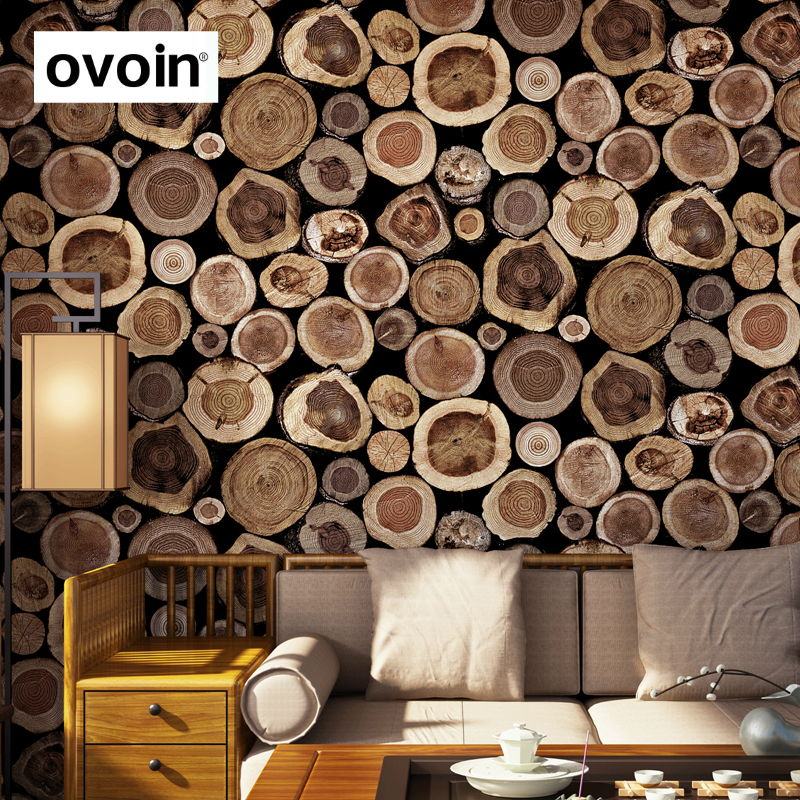 Rustic Faux Log Wood Wallpaper Roll Vinyl Dark Brown Nature Vintage Wall Paper Covering For Living Room Background In Wallpapers From Home Improvement