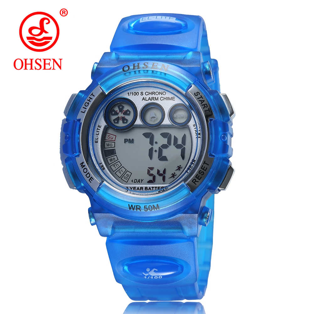 OHSEN Fashion Waterproof Sport Student Children's Watch Kids Watches Clock Child LED Digital Wristwatch Electronic Children Gift