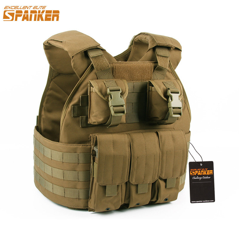 EXCELLENT ELITE SPANKER Outdoor Tactical Training SPC Hunting Molle Vest Jungle Army Military Assault Combat Nylon Vests spanker 1000d camouflage tactical molle tank mechanic chef cooking grilling apron army training hunting waterproof nylon vest