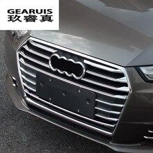 Стайлинга автомобилей Передняя среднего гриль сетки отделкой полосы Автомобиль Стайлинг бампер Стикеры модификации Интимные аксессуары для Audi A4 B8 B9 2009 -2017