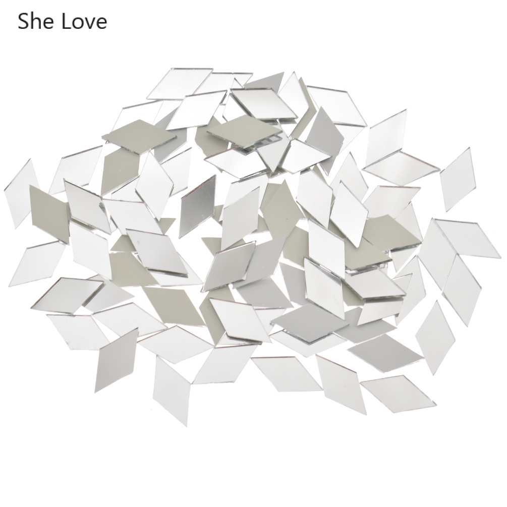 She Love 100Pcs/lot 10x20mm Diamond Shape Glass Mirror Mosaic Tiles For Home Decoration Crafts Diy Bathroom Wall Accessories
