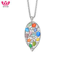 Hollow Leaf With Colorful Stone Crystal Necklace & Pendant Popcorn Chain Long Fashion Party Jewelry For Women Gifts New