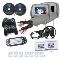 Eonon 7 двойной подголовник автомобиля dvd плеер Подушки Детские Мониторы игры USB SD ИК передатчик геймпад автомобиля Мониторы с 1 пара ИК наушни