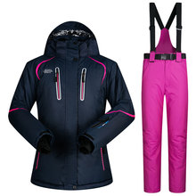 hot sale outdoor sports snow suit -20-30 degree ski suit set snow ski wear ladies with pant trousers ski jacket skiing clothing snowboard clothing ski pants ski suit female bright colored ski jackets ski jacket female colorful ski jackets ski coat(China)
