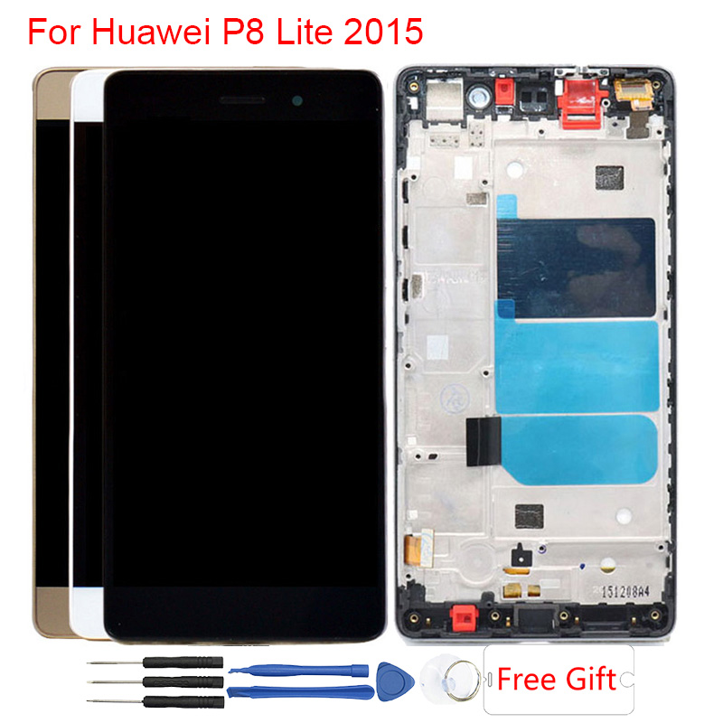 P8 Lite LCD For Huawei P8 Lite LCD Display With Frame Touch Screen Assembly LCD P8 Lite Display ALE-L21 ALE-04 2015 Version