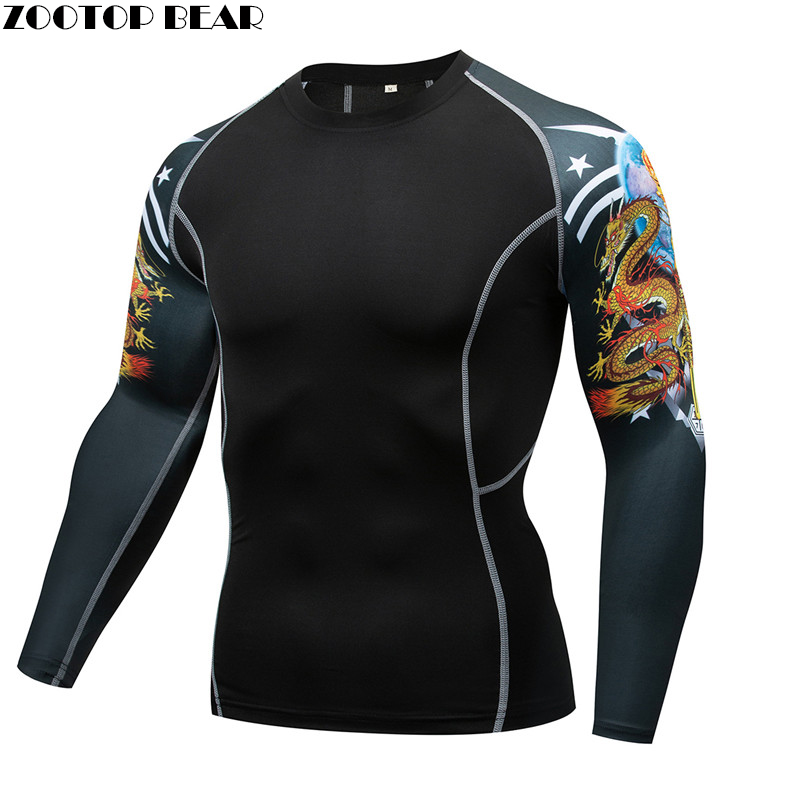Dragon MMA Compression T-shirt Men quick dry Elastic Base Layer Skin Tight Weight Lifting Crossfit Top Tee Rash guard Fitness