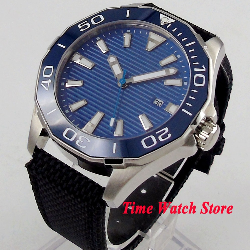 45mm Polygon men's watch blue wave dial luminous ceramic bezel sapphire glass 5ATM MIYOTA Automatic movement wrist watch PL7 цена