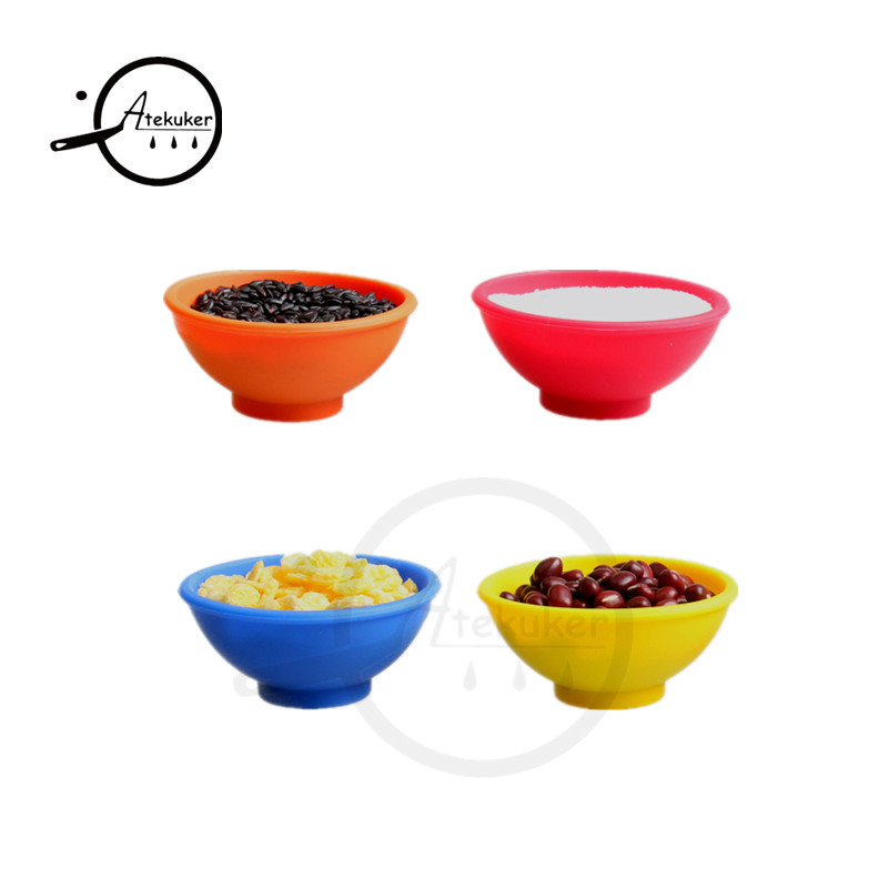 Atekuker Wholesale 100Pcs/lot Mini Silicone Bowls For Salt Sauce Sugar Butter Cream Dressing Mayonnaise Salad Kitchen Tools