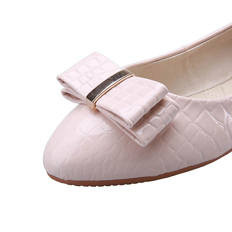 EGONERY women flats skid resistance pregnant women apply stone pattern butterfly-knot decoration pointed toe convenient shoes
