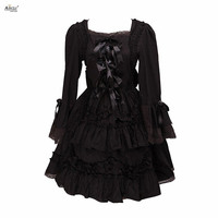 Lady Gothic Court Lolita Dress Cotton Black Long Sleeves Bows Lace Middle Long Dress Lolita Dress Ainclu Cosplay XS XXL Women