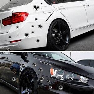 Image 2 - 자동차 스티커 1Pcs 3D 총알 구멍 데칼 자동차 커버 오토바이 스크래치 현실적인 총알 구멍 방수 스티커