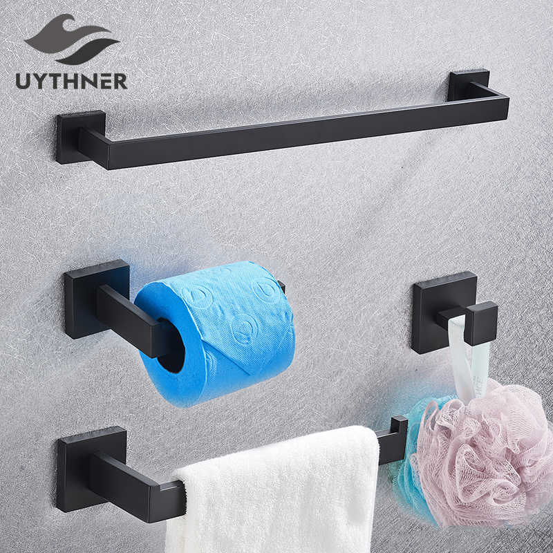 Bathroom Hardware Set Black Robe Hook Towel Rail Bar Rack Bar Shelf Tissue Paper Holder Toothbrush Holder Bathroom Accessories