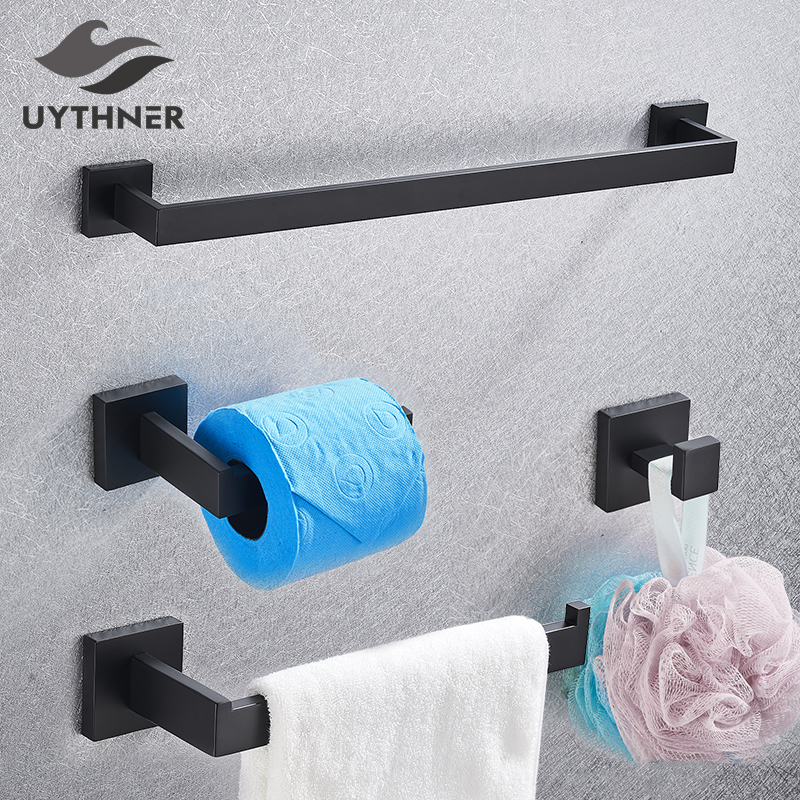 Bathroom Hardware Set Black Robe Hook Towel Rail Bar Rack Bar Shelf Tissue Paper Holder Toothbrush Holder Bathroom Accessories(China)