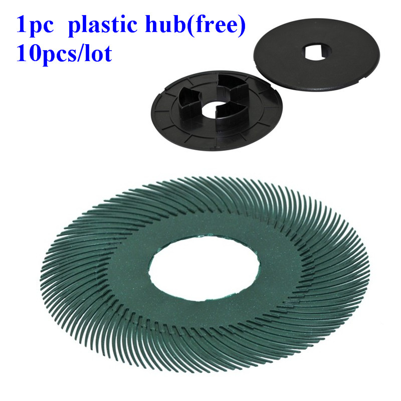 80# Grit 3M Radial Brush wheel 6 polishing wheel abrasive tools for jewelry  dental lab tools 10pcs/lot with 1 free plastic hub 1pc white or green polishing paste wax polishing compounds for high lustre finishing on steels hard metals durale quality
