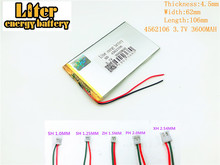 3 7V 4562106 3600mah Lithium polymer battery for tablet pc rechargeable battery 3 7V 4562106 PLUG