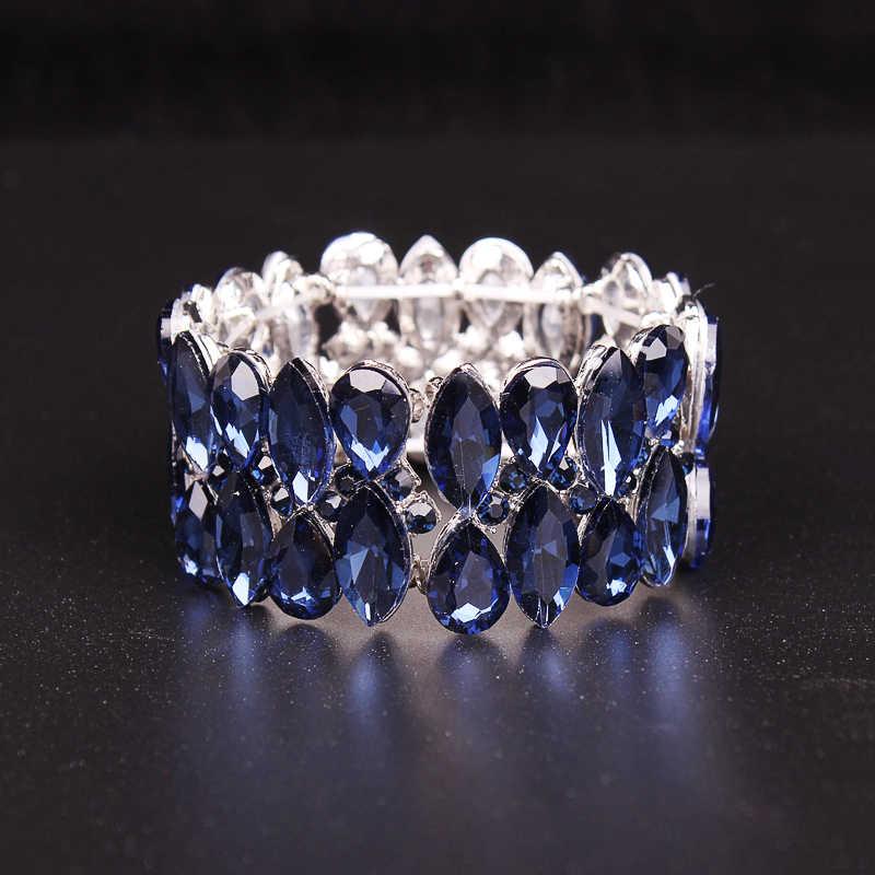 Fashion AAA Crystal Cuff Bracelets Bangles Big Stretch Bangle for Women  Indian Bridal Bracelet Jewelry Gift 763a6eb8f2c3