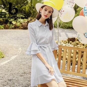 FINEWORDS Elegant Striped Korean Dress Women Sashes Flare Sleeve Tunic Robe Chiffon Dress Autumn Day Wear Casual Dress Female day dress