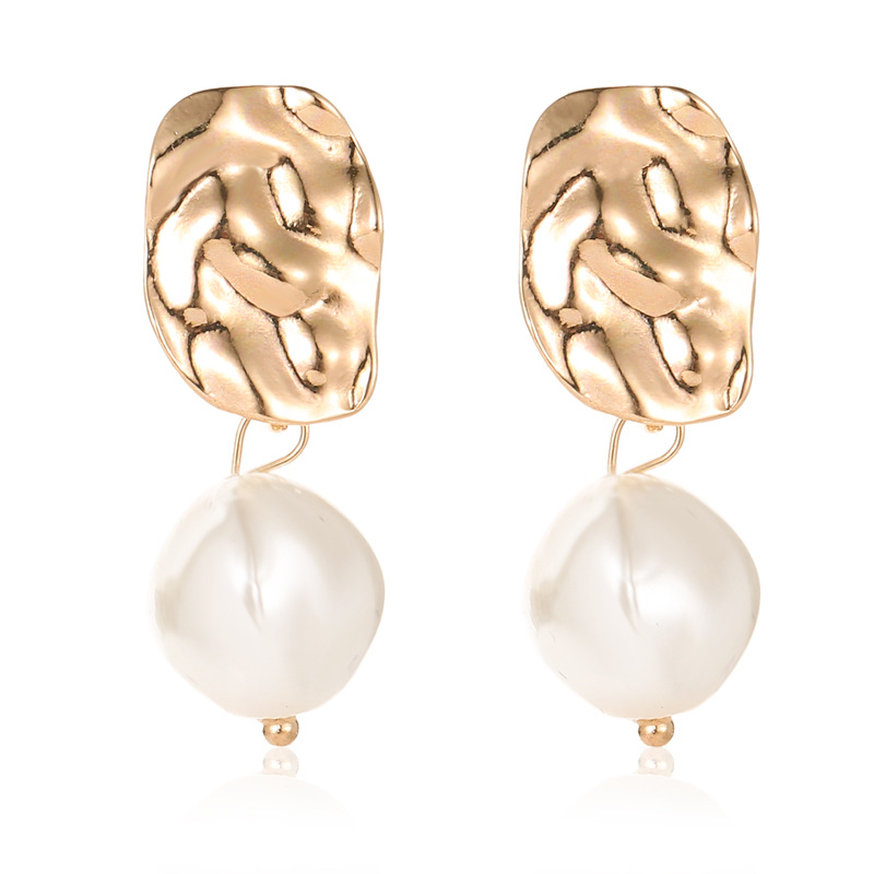 New Korean Cute Natural Freshwater Pearl Beads Gold Drop Earrings for Women Ear Woman Long Dangle Earrings Party Jewelry 2019(China)