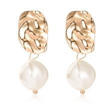 New Korean Cute Natural Freshwater Pearl Beads Gold Drop Earrings for Women Ear Woman Long Dangle Earrings Party Jewelry  2019 цена