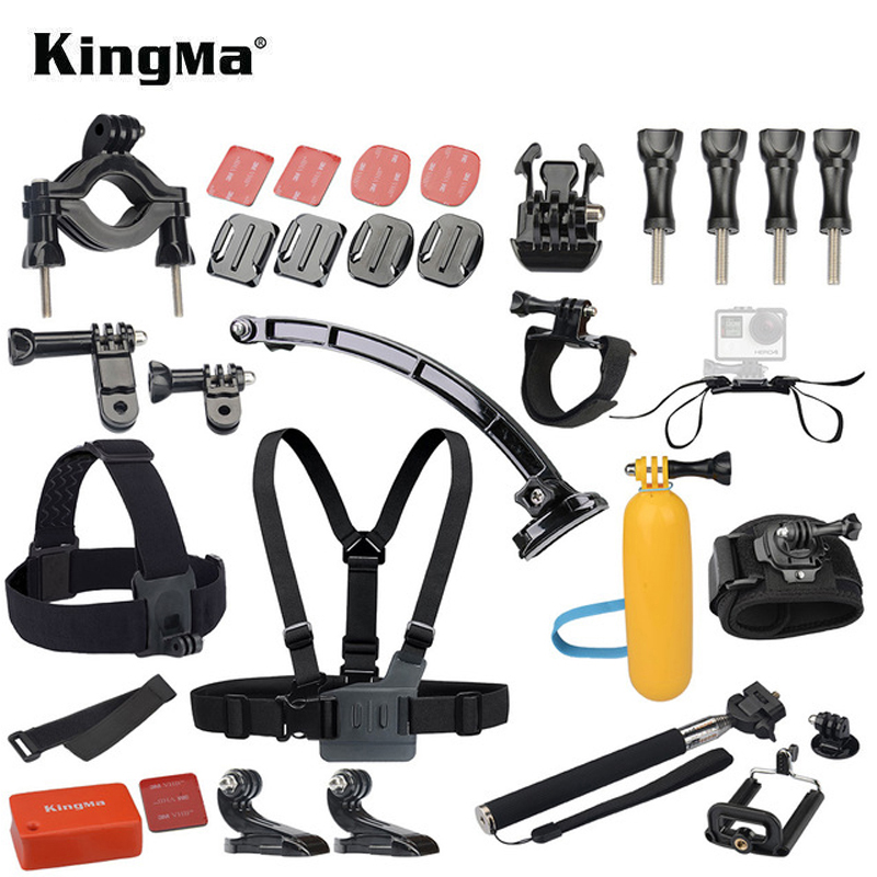 Gopro Hero Accessories Set Helmet Harness Chest Belt Head Mount Strap Monopod Go pro hero3 Hero 4 session 3+ xiaomi yi Black Kit