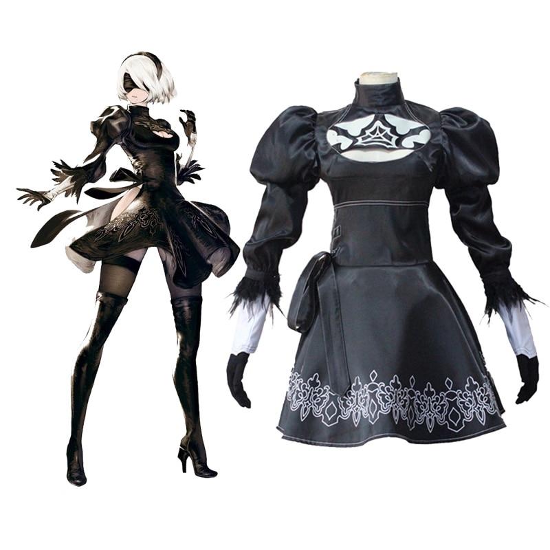 """""""Anime NieR"""": """"Automata 2b"""" uniformų suknelė """"Cosplay"""" kostiumai, Halloween kostiumai moterims"""